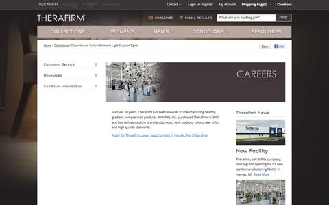 Screenshot of Jobs Page therafirm.com - Careers  | Compression Support Hose - captured June 10, 2017