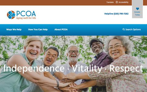 Screenshot of Home Page pcoa.org - Home - Pima Council on Aging - captured Sept. 25, 2018