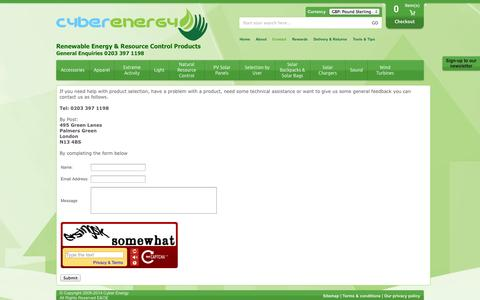 Screenshot of Contact Page cyberenergy.co.uk - Contact Us - captured Oct. 3, 2014