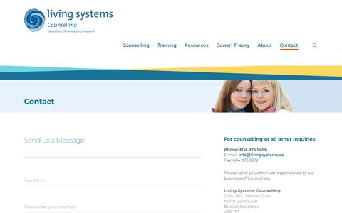 Screenshot of Contact Page livingsystems.ca - CONTACT - captured Sept. 29, 2018
