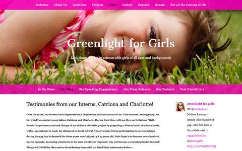 Screenshot of Blog greenlightforgirls.org - Our Blog — Greenlight for Girls - captured Sept. 30, 2014