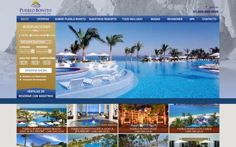 Screenshot of Home Page pueblobonito.com.mx - Hoteles de Playa en México | Pueblo Bonito Oceanfront Resorts  & Spas - captured Oct. 3, 2014