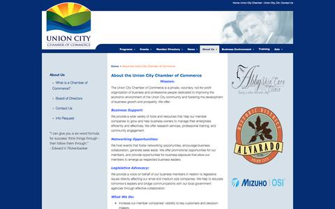 Screenshot of About Page unioncitychamber.com - About the Union City Chamber of Commerce - Union City Chamber of Commerce - captured Jan. 25, 2018