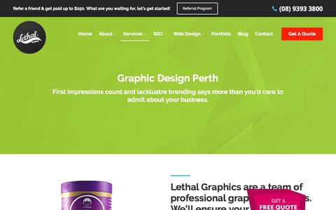 Screenshot of Services Page lethalgraphics.com.au - Graphic Design Perth - captured March 3, 2016