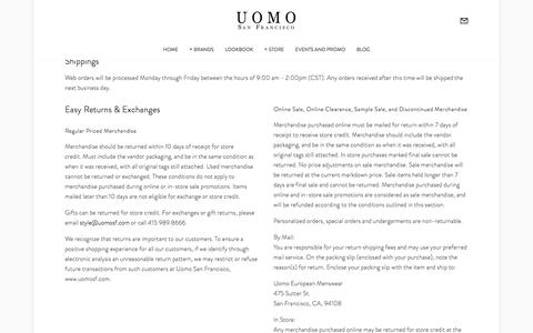 Shipping & Returns — Uomo San Francisco | Designer European Luxury Menswear and Accessories