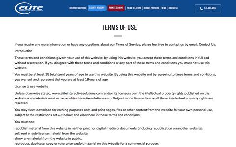 Screenshot of Terms Page eliteisi.com - Terms of Use - Elite Interactive Solutions - captured Oct. 28, 2019