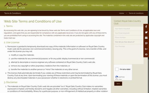 Screenshot of Terms Page royaloaks.net - Terms & Conditions   Royal Oaks Country Club - captured Oct. 18, 2018