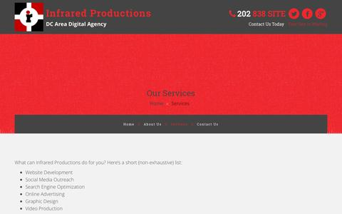 Screenshot of Services Page infraredproductions.com - Services - Infrared Productions - captured Nov. 26, 2016