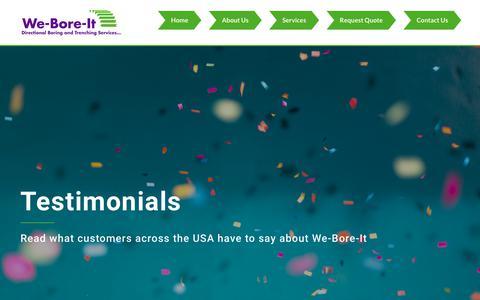 Screenshot of Testimonials Page we-bore-it.com - We-Bore-It Customer Testimonials & Reviews - captured Oct. 18, 2018