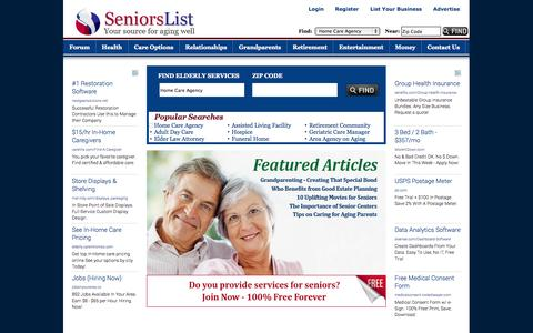 Screenshot of Landing Page seniorslist.com - Elderly Services; Retirement Community; Assisted Living Facility; Home Care Agency - captured Oct. 27, 2014