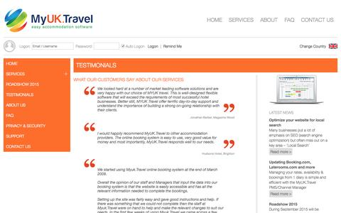 Screenshot of Testimonials Page myuk.travel - Testimonials: MyUK.Travel - captured Oct. 20, 2015