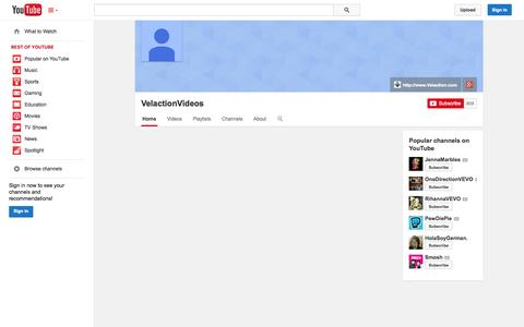 Screenshot of YouTube Page youtube.com - VelactionVideos  - YouTube - captured Oct. 26, 2014