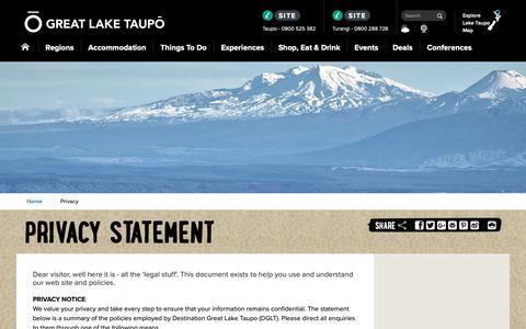 Screenshot of Privacy Page greatlaketaupo.com - Great Lake Taupo | Taupo's Website Privacy Policy - captured Oct. 2, 2018