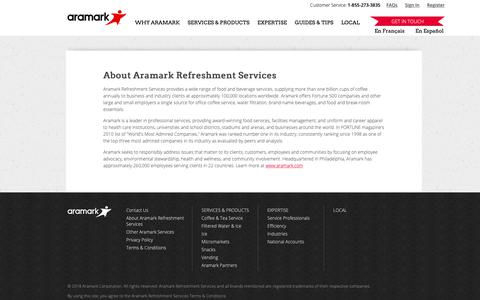 Screenshot of About Page aramarkrefreshments.com - About Aramark - Your Office Coffee Service Company - captured Oct. 2, 2018