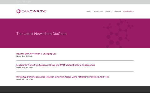 Screenshot of Press Page diacarta.com - News - DiaCarta - captured Nov. 24, 2016