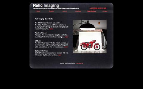 Screenshot of Case Studies Page relicimaging.com - Relic Imaging - Case studies of recent digitisation   projects - captured Oct. 26, 2014