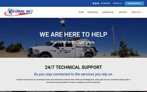 Screenshot of Support Page theglobal.net - Support – Global Net - captured Sept. 28, 2018