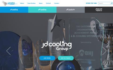 Screenshot of Home Page jdcooling.com - Industrial, Refrigeration, HVAC, Power & Controls - JD Cooling Group - captured Nov. 11, 2018