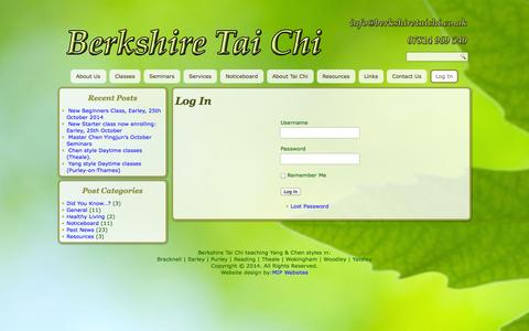 Screenshot of Login Page berkshiretaichi.co.uk - Log In - Berkshire Tai Chi - captured Oct. 5, 2014