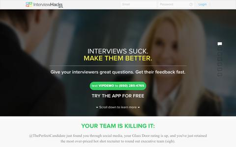Screenshot of Home Page interview-hacks.com - Interview Hacks: Interviews suck ... make them better - captured Sept. 30, 2014