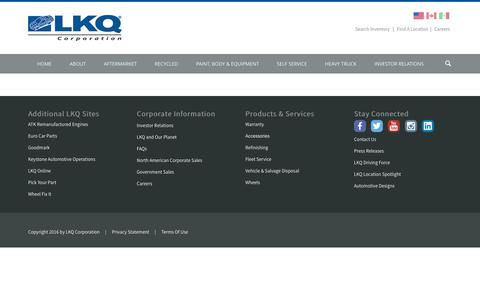 Screenshot of Locations Page lkqcorp.com - Find A Location - captured May 5, 2016