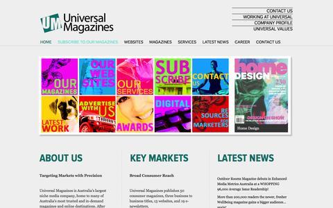 Screenshot of Home Page universalmagazines.com.au - Homepage - Universal Magazines - captured Sept. 25, 2014