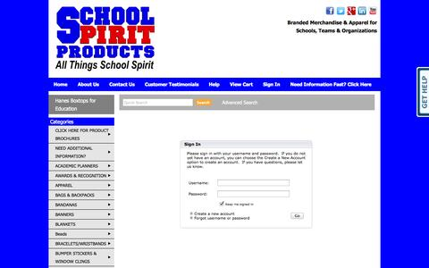 Screenshot of Login Page schoolspiritproducts.com - School Spirit Products,  School Spirit Merchandise, Booster Club Spirit Items, PTA, PTO school items, - Sign In - captured Oct. 4, 2014