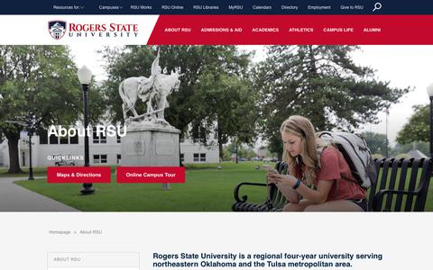 Screenshot of About Page rsu.edu - About RSU - Rogers State University - captured Sept. 22, 2018