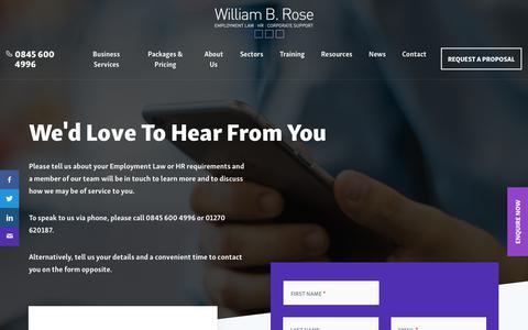 Screenshot of Contact Page williambrose.com - Contact   William B Rose - captured Oct. 21, 2017