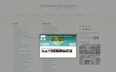 Screenshot of Site Map Page theshoreline.org - Sitemap | - The Shoreline Church of San Clemente - captured Feb. 15, 2016
