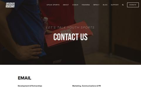 Screenshot of Contact Page up2us.org - Contact  — Up2Us Sports | Coaching for Change - captured June 30, 2019