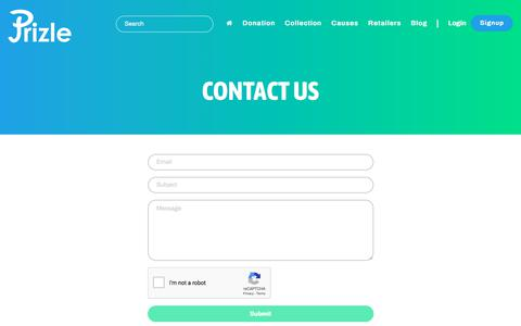 Screenshot of Contact Page prizle.com - Contact us - captured Sept. 24, 2018