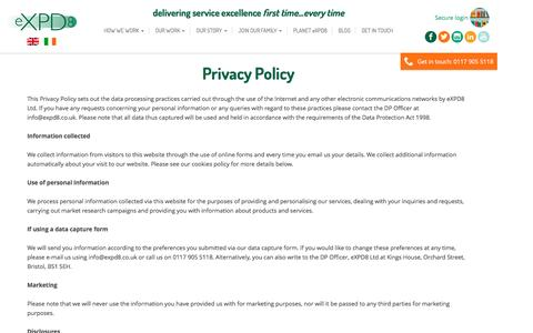 Screenshot of Privacy Page expd8.co.uk - Privacy Policy - eXPD8 - captured July 17, 2016