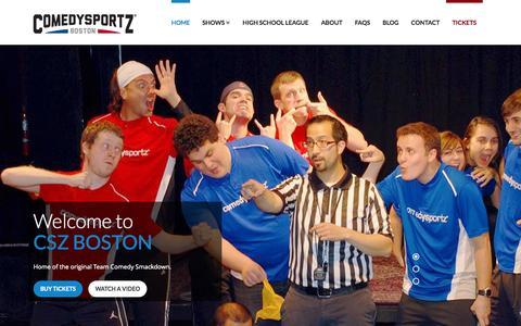 Screenshot of Home Page cszboston.com - ComedySportz Boston | Improv Family Comedy Show - captured Jan. 27, 2015