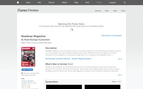 Screenshot of iOS App Page apple.com - Roadway Magazine on the App Store on iTunes - captured Oct. 25, 2014