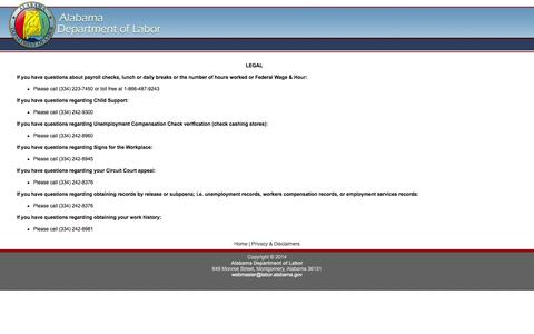 Screenshot of Terms Page alabama.gov - Alabama Department of Labor - Contacts - captured Sept. 18, 2014