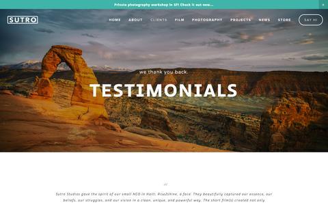 Screenshot of Testimonials Page sutrostudios.com - Testimonials — Sutro - captured Oct. 7, 2014