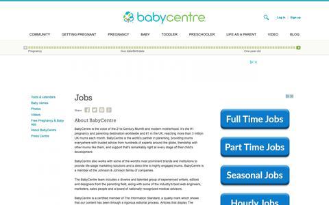 Screenshot of Jobs Page babycentre.co.uk - Jobs - BabyCentre UK - captured Nov. 7, 2018