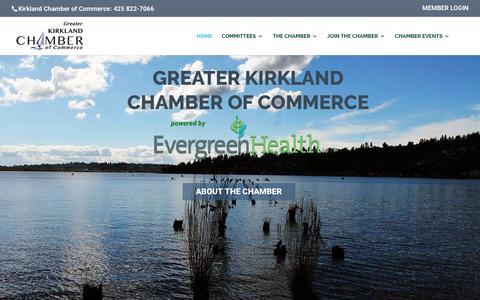 Screenshot of Home Page kirklandchamber.org - Kirkland Chamber of Commerce - Greater Kirkland Chamber of Commerce - captured Sept. 19, 2017