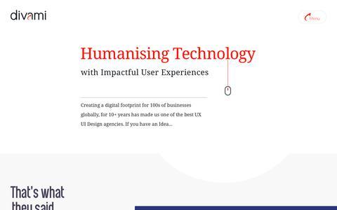 Screenshot of Home Page divami.com - Divami - UI/UX Design Consultancy - captured Aug. 5, 2019