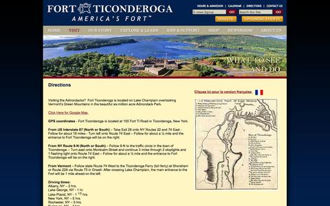 Screenshot of Maps & Directions Page fortticonderoga.org - Direction Map Fort Ticonderoga | Fort Ticonderoga Directions - captured Sept. 30, 2014