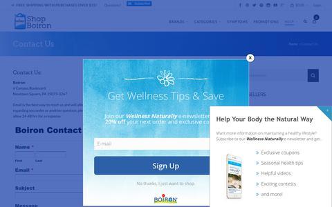 Screenshot of Contact Page boironusa.com - Contact Us | Boiron USA Shop - captured Dec. 4, 2018