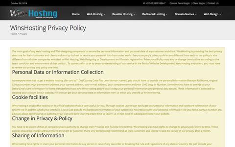 Screenshot of Privacy Page winshosting.com - domain privacy | secure hosting contacts - WinsHosting - captured Oct. 26, 2014