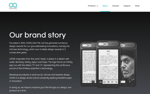 Screenshot of About Page oaxis.com - About - Oaxis Official InkCase site - captured July 22, 2019