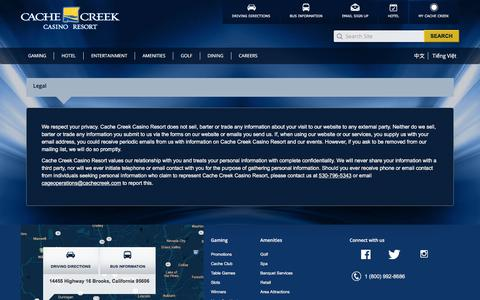 Screenshot of Terms Page cachecreek.com - Cache Creek Casino Resort | Legal - captured Sept. 20, 2018