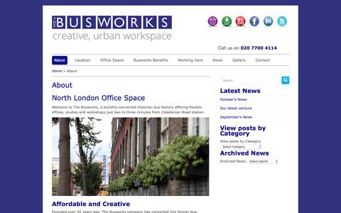 Screenshot of About Page busworks.co.uk - Affordable London office space, studios and workshops to rent in North London » The Busworks » London Offices For Rent   The Busworks - captured Oct. 19, 2018