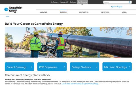 Screenshot of Jobs Page centerpointenergy.com - Careers at CenterPoint Energy - captured May 23, 2018