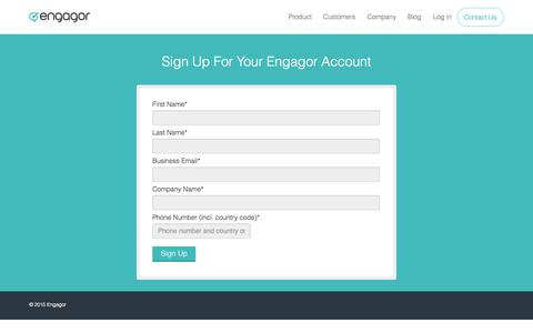 Screenshot of Trial Page engagor.com - Request a Trial of Engagor's Social Media Tool Today | Engagor - captured Oct. 26, 2015