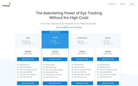Screenshot of Pricing Page crazyegg.com - A/B Testing & Heatmaps - Crazy Egg Website Optimization Software - captured April 1, 2018