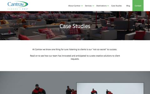 Screenshot of Case Studies Page cantrav.com - Destination Management Case Studies | Cantrav DMC Services - captured March 27, 2018